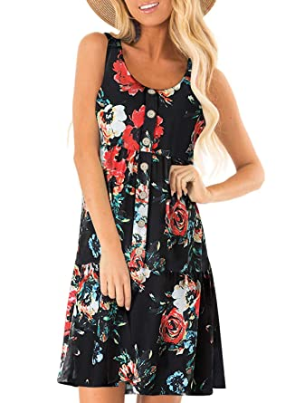 b592de3d1 HOTAPEI Summer Casual Beach Sun Dresses for Women Floral Print Sleeveless  Button Front Mini Short Tank