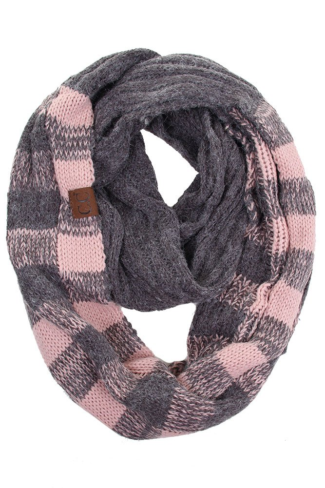 ScarvesMe CC Buffalo Check Pattern Scarf Soft Chunky Pullover Knit Long Loop Infinity Hood Cowl Scarf (Dark Gray/Indi Pink)