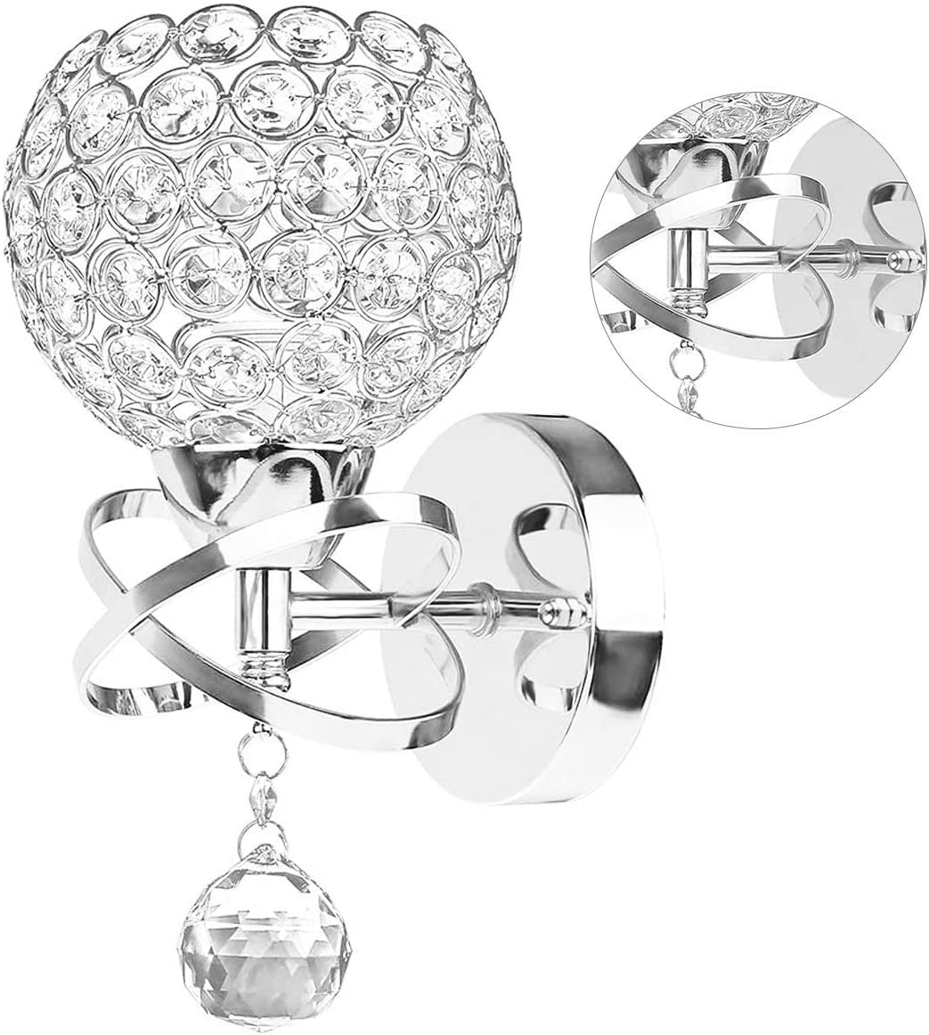 Crystal Wall Sconce, Modern Wall Light Sconces Wall Lighting with Hanging Crystal Ball, Wall Mount Lamp Bedside Wall Lamp Silver Sconces Wall Decor for Bedroom Living Room Hallway