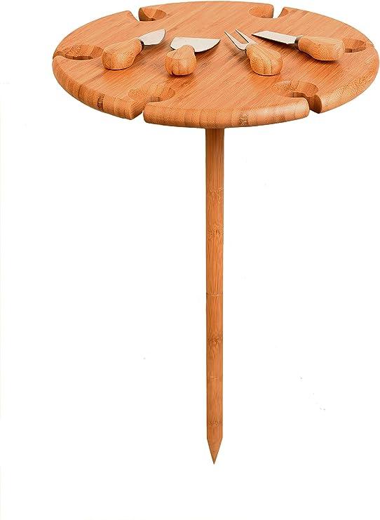 Tabla de picnic plegable de bambú con cubiertos de queso para mesa de vino al aire libre, mesa de playa para arena, camping y entretenimiento, mesa de ...