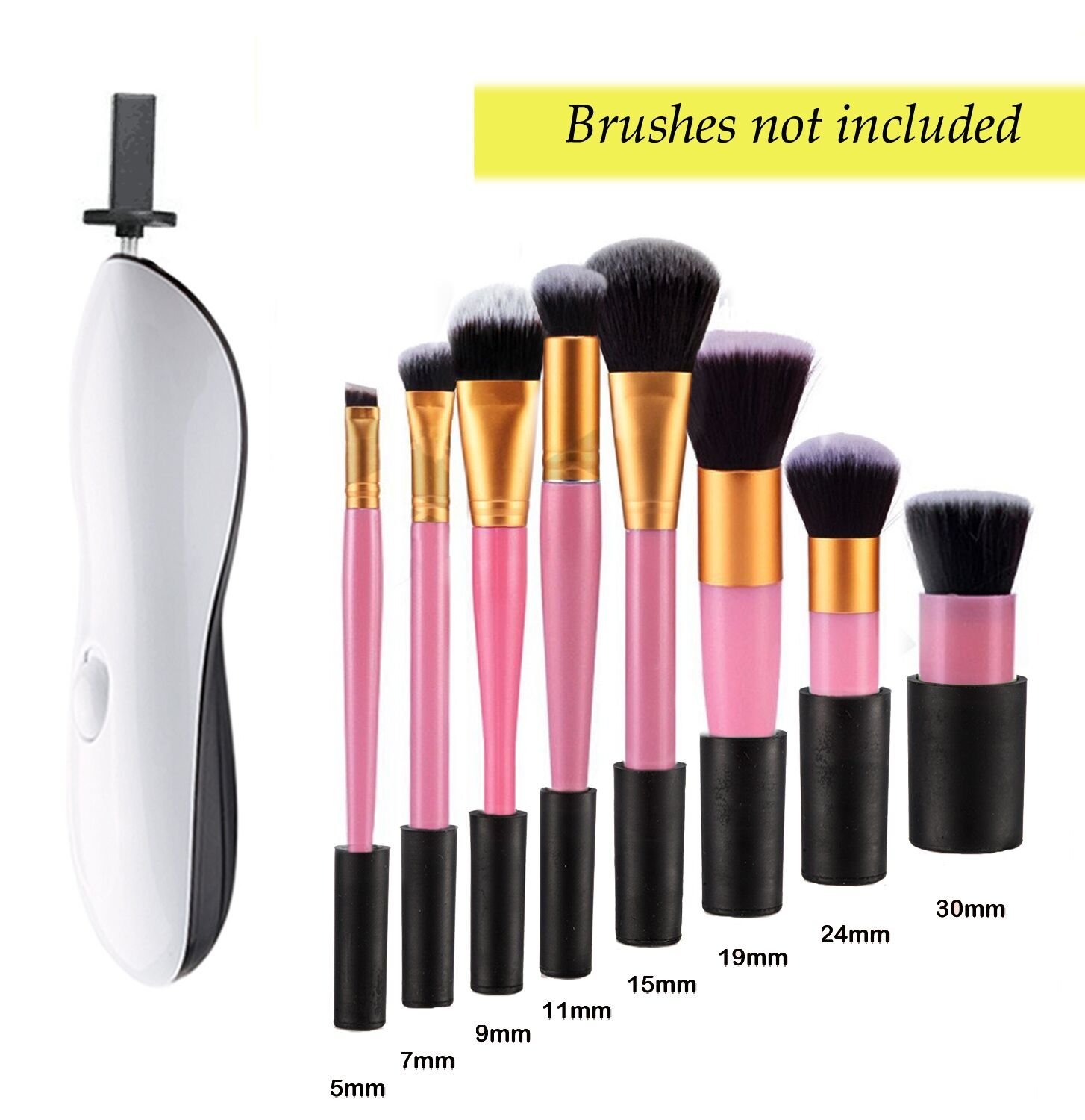 Brush Cleaner, Clean Makeup Brush – One Brush Cleaning Machine, Dry Makeup Brushes for Makeup Brush set in Seconds(Without Brush,White)