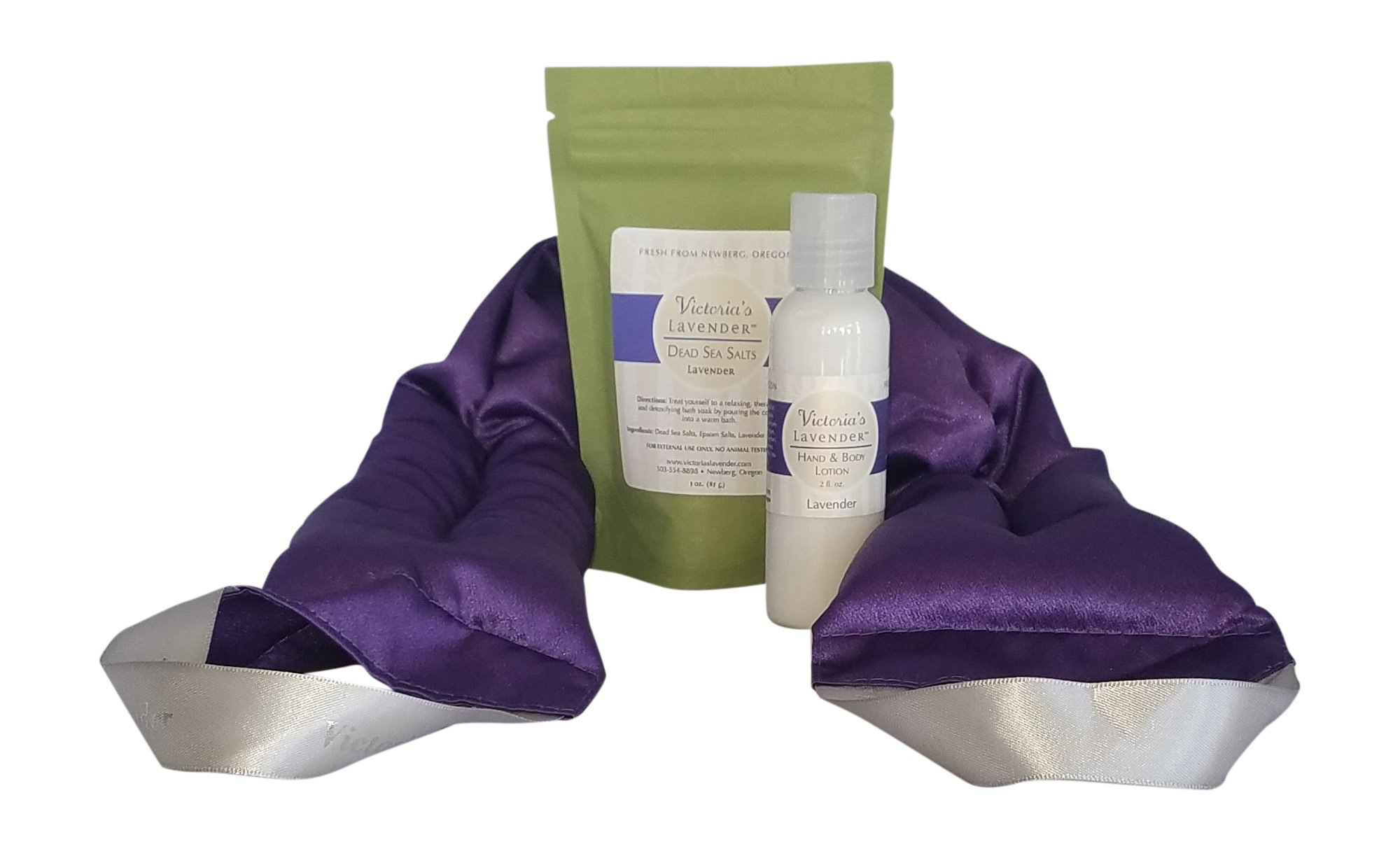 Victoria's Lavender NECK WRAP GIFT SET with LAVENDER BATH SALTS, LAVENDER LOTION Perfect for Aromatherapy gift for Relaxation and Good Night's Sleep