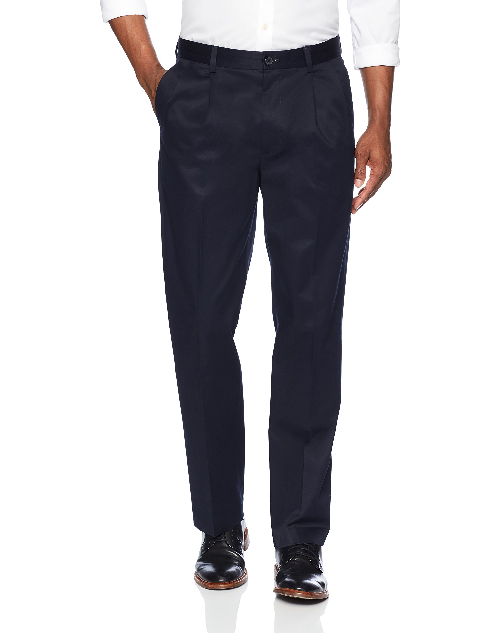 Buttoned Down Men's Relaxed Fit Pleated Stretch Non-Iron Dress Chino Pant, Navy, 36W x 34L