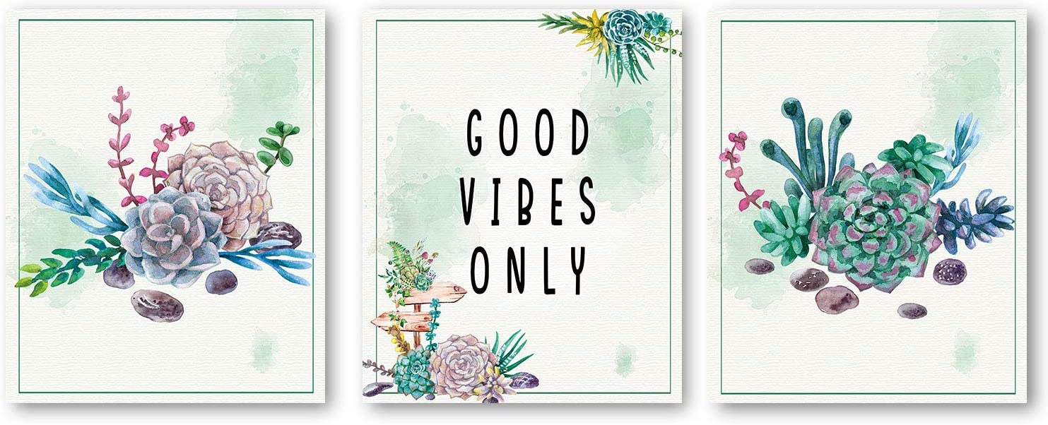 Good Vibes Only Quote Inspirational Art Print, Natural Plant Green succulent plants Art Painting, Set Of 3 (8X10) photos Unframed,Yoga Studio Motivational Home Wall Decor