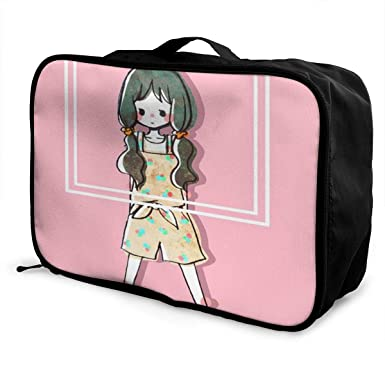 Amazon.com: Maleta de equipaje portátil para niña con coleta ...