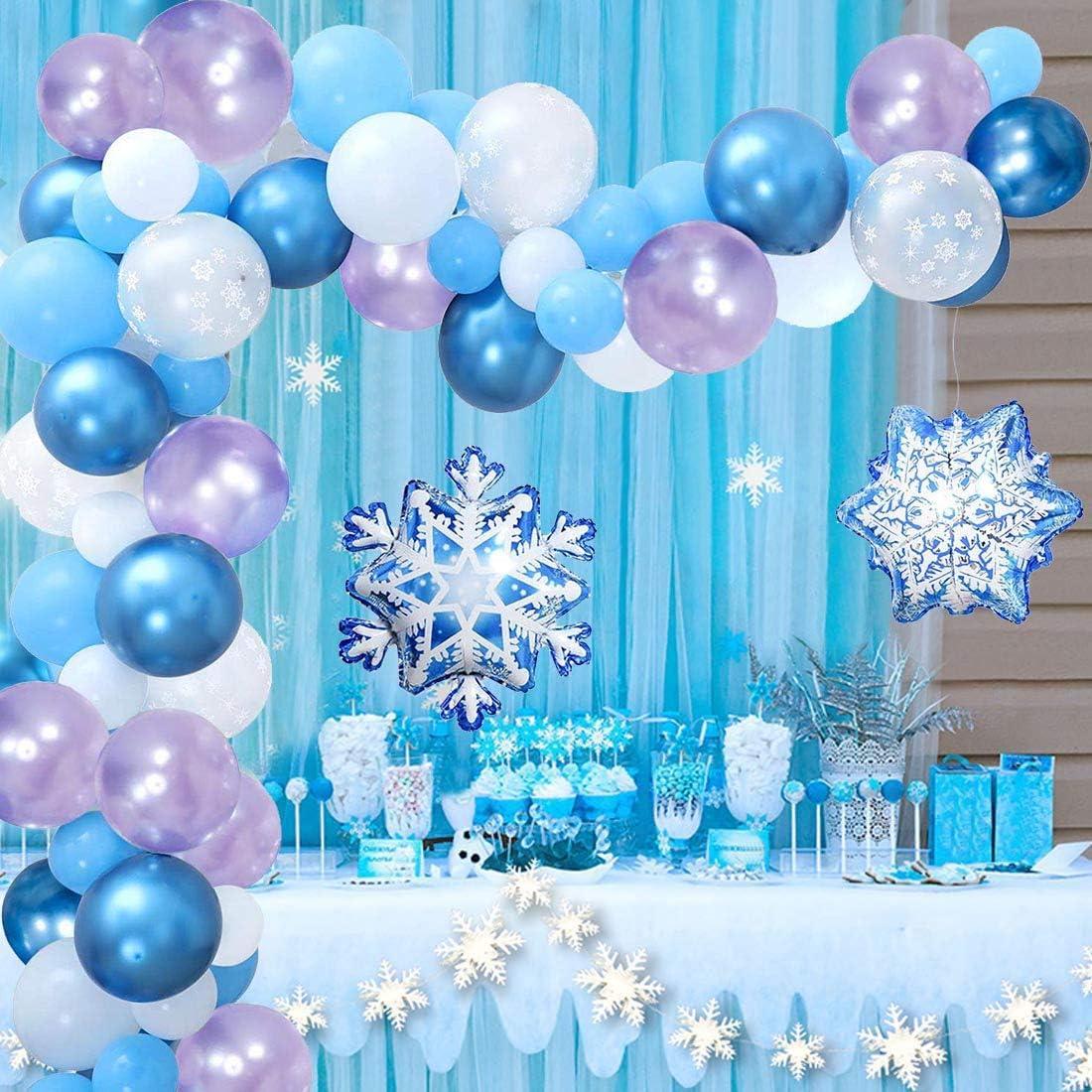 YiRAN Frozen Balloon Garland Arch Kit 7Ft Long Frozen Birthday Party  Supplies, Snowflake Decorations, Frozen Party Decorations, Frozen Balloons,