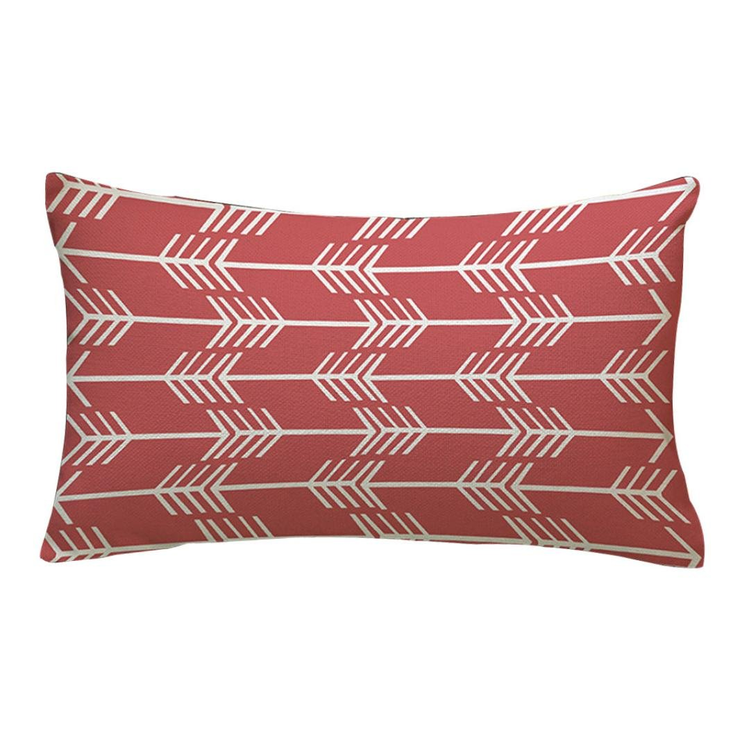 Clode® Pillowcase, 30cm*50cm Rectangle Geometrical Pattern Cushion Cover Throw Waist Pillow Case Sofa Home Decor Pillow Case Zipper Closure (Black)