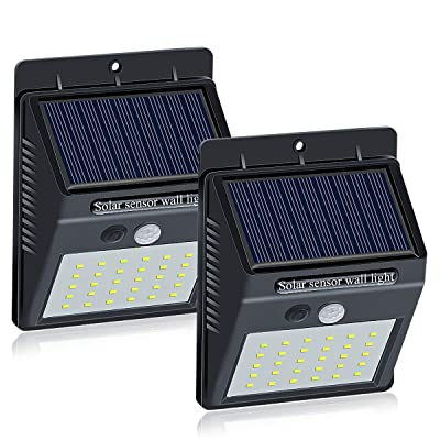 Brinonac 30LEDs Solar Lights Outdoor, Waterproof Wireless Solar Motion Sensor Security LED Wall Lights, with Grade A+ Battery, Solar Light for Outdoor, Front Door, Back Yard, Garage, Porch(2 Pack)