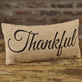 Thankful Black Cursive 6 x 12 Burlap Decorative Throw Pillow