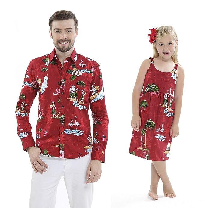 198b432fd35de Matching Father Daughter Hawaiian Luau Outfit Christmas Men Shirt Girl Dress  Red Santa Flamingo at Amazon Men's Clothing store: