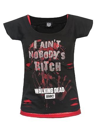 62d75d0100 The Walking Dead Nobody s Bitch T-Shirt Black-red XXL  Amazon.co.uk   Clothing