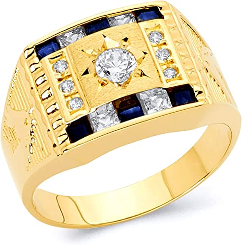 Wellingsale Mens Solid 14k Yellow Gold CZ Cubic Zirconia Wedding Band