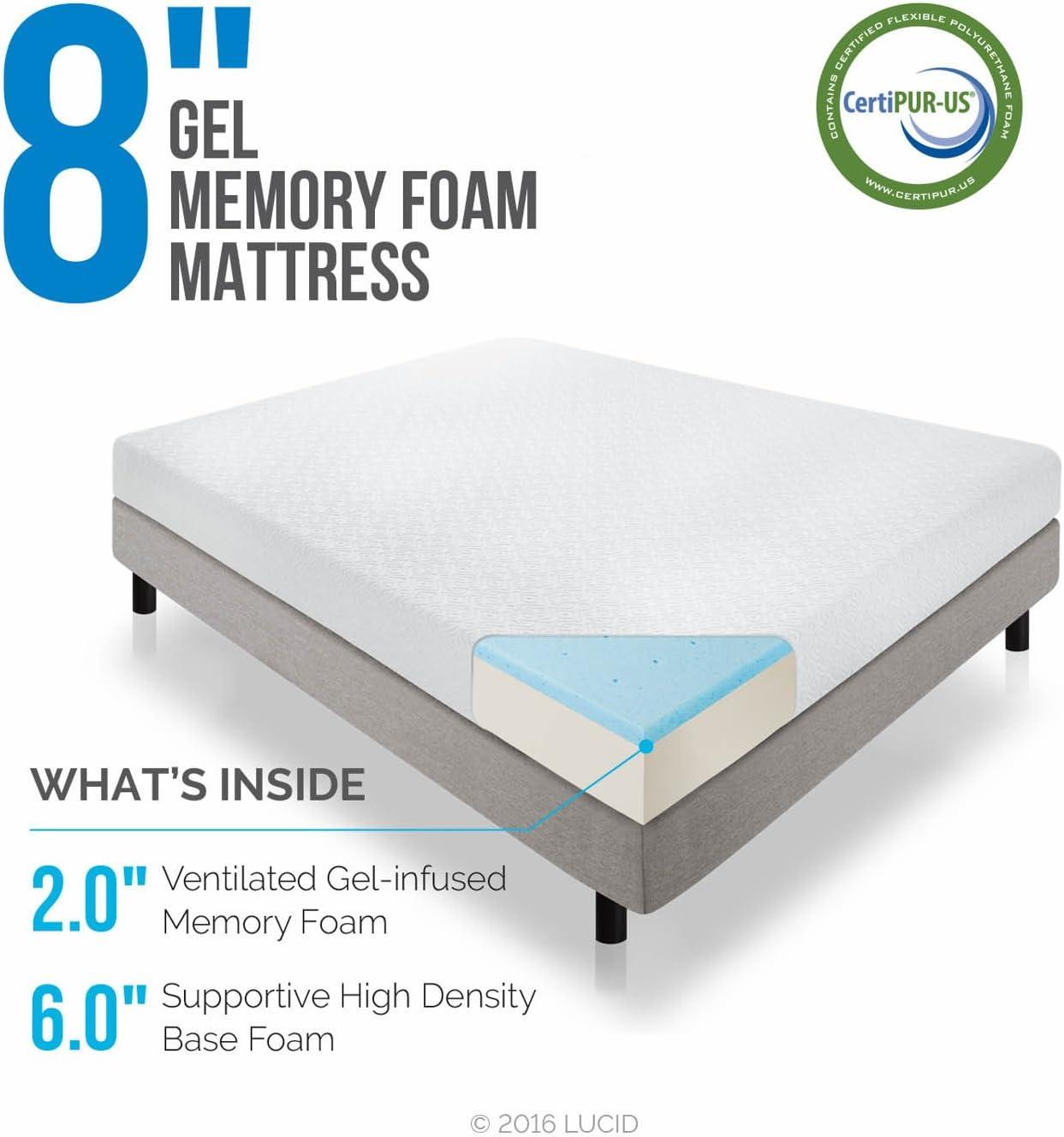 LUCID 8 Inch Gel Infused Memory Foam Mattress – Medium Firm Feel – CertiPUR-US Certified – 10-Year warranty – Twin