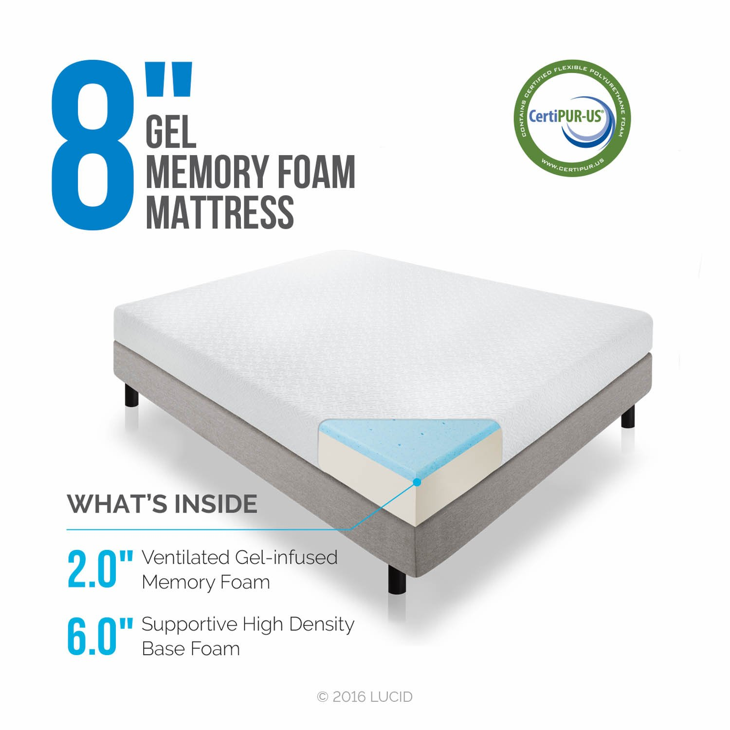 amazoncom lucid 8 inch gel infused memory foam mattress medium firm feel certipur us certified 10 year warranty twin kitchen dining - Memory Foam Mattress