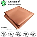 """Copper Fabric Blocking RFID/RF-Reduce EMF/EMI Protection Conductive Fabric for Smart Meters Prevent from Radiation/Singal/WiFi Golden Color 39""""x43"""" inch"""
