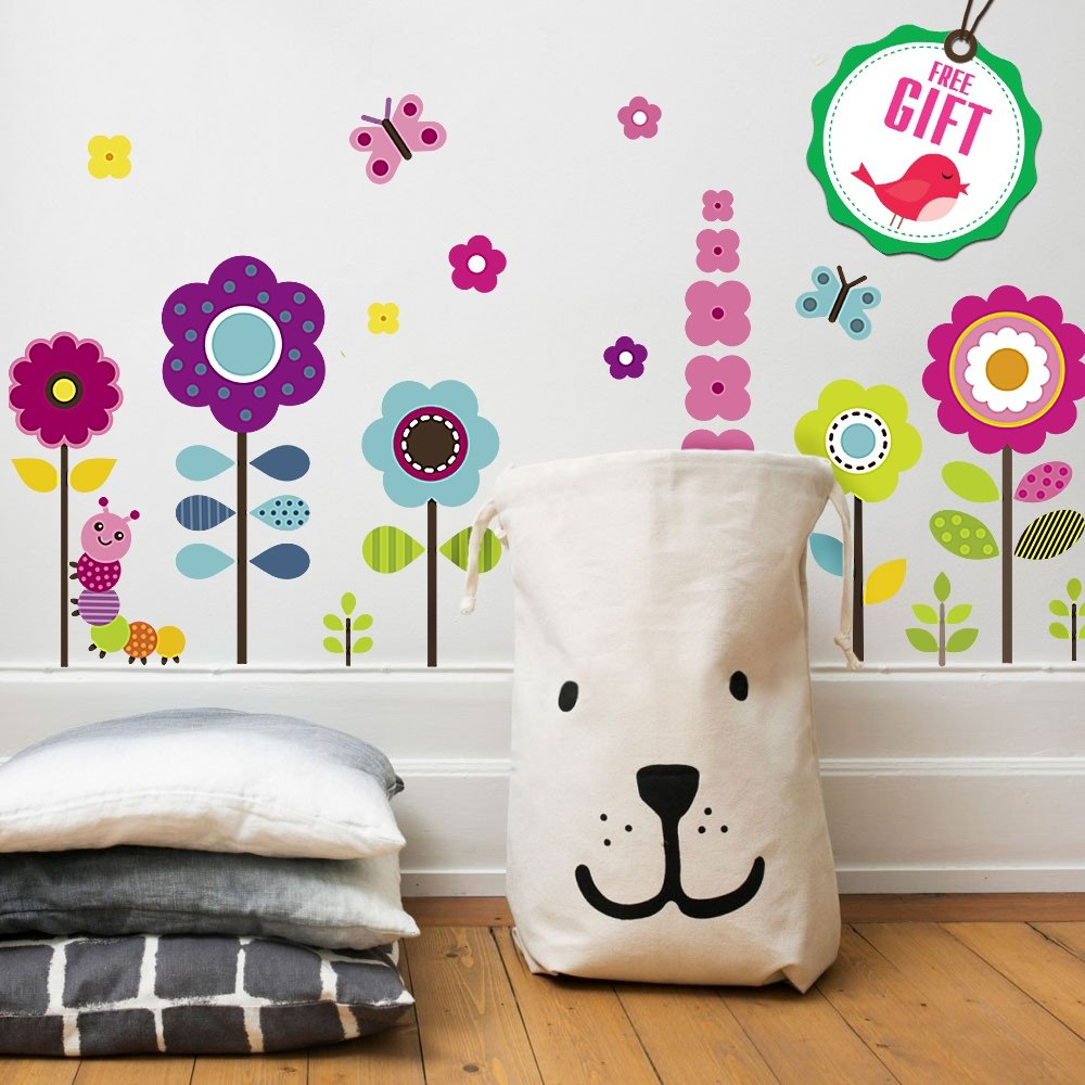 Flower Wall Stickers for Kids - Floral Garden Wall Decals for Girls Room - Removable Toddlers Bedroom Vinyl Nursery Wall Décor [27 Art clings] with Free Bird Gift! by DesignStickers