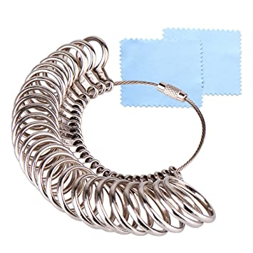 3cb9d0d93184b KUUQA Size 1-13 Stainless Iron Ring Sizer Finger Ring Sizing Measuring Tool  Ring Sizer Gauge Set 27 Pieces Circle Models with 2 Piece Jewelry ...