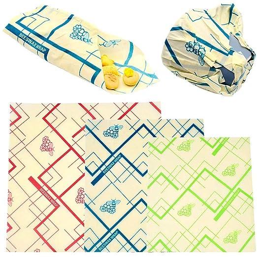 Womdee Beeswax Wrap Set de 3, Food Wraps Alternativa a la ...
