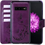 WaterFox Samsung Galaxy S10 + Plus Case, Wallet Leather Case with 2 in 1 Detachable Cover, Women's Vintage Embossed Pattern w