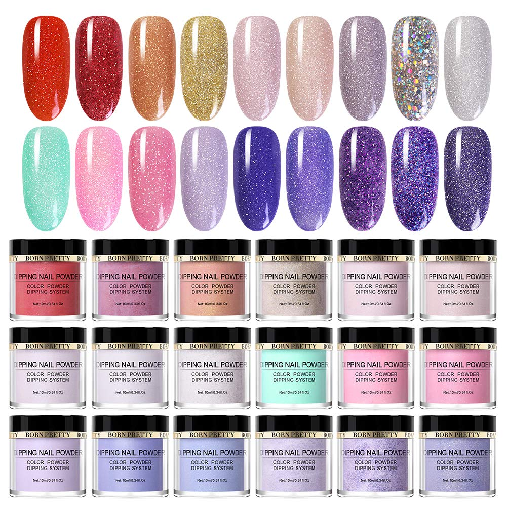 BORN PRETTY 10ml Dipping Nail Powder Glittery Natural Dry Nail Art Decorations for Nails Designs 18 Colors by Born Pretty