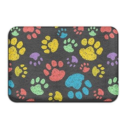 Amazon.com: Colorful perro Huellas Puerta Frontal de entrada ...