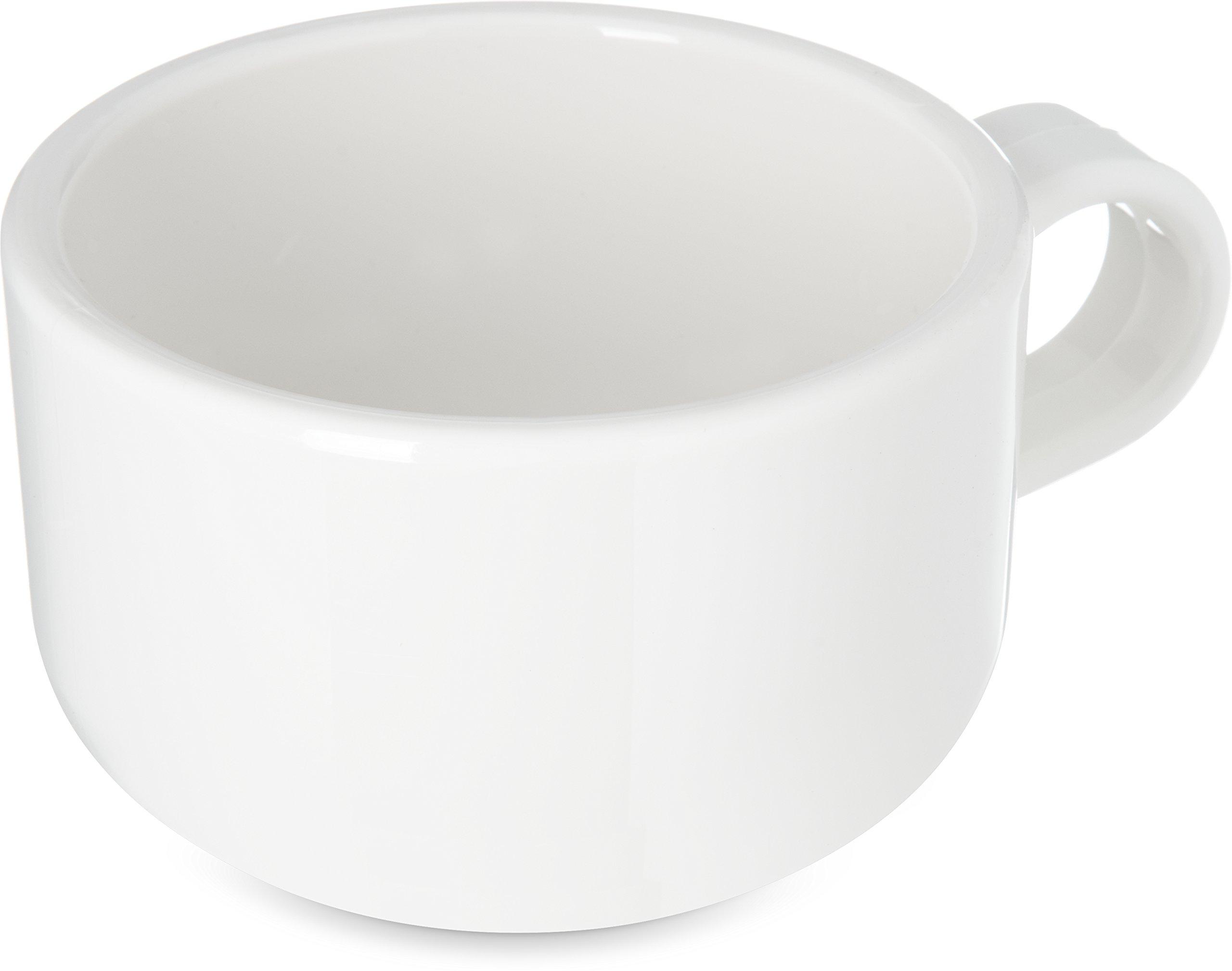Carlisle 741002 Jumbo Soup Mug, 10 oz, 2.62'' Height, 3.93'' Width, 3.93'' Length, Polycarbonate (PC), White (Pack of 24)