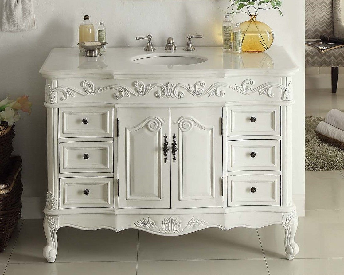 White Antique Vanity Antique Furniture