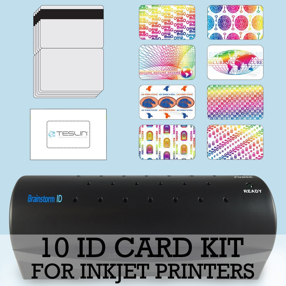 10 ID Card Kit - Laminator, Inkjet Teslin, Butterfly Pouches, and Holograms - Make PVC Like ID Cards Brainstorm ID 10-ID-Card-Kit-Inkjet