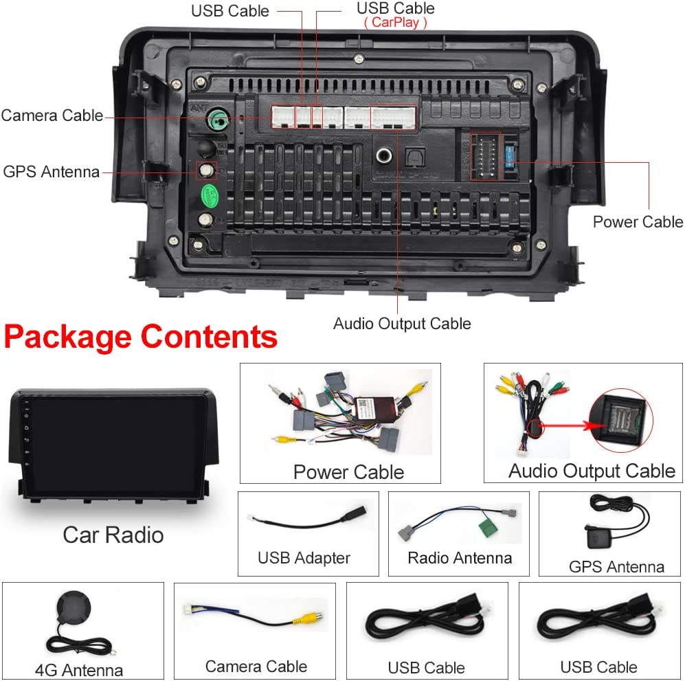 IYING Android 10.0 Car Stereo Radio Support Apple CarPlay /& Android Auto 4GB+64GB for Honda Civic 2015-2019 AM//FM Radio GPS Navigation WiFi Bluetooth Car Multimedia 9 Inch in Dash Head Unit