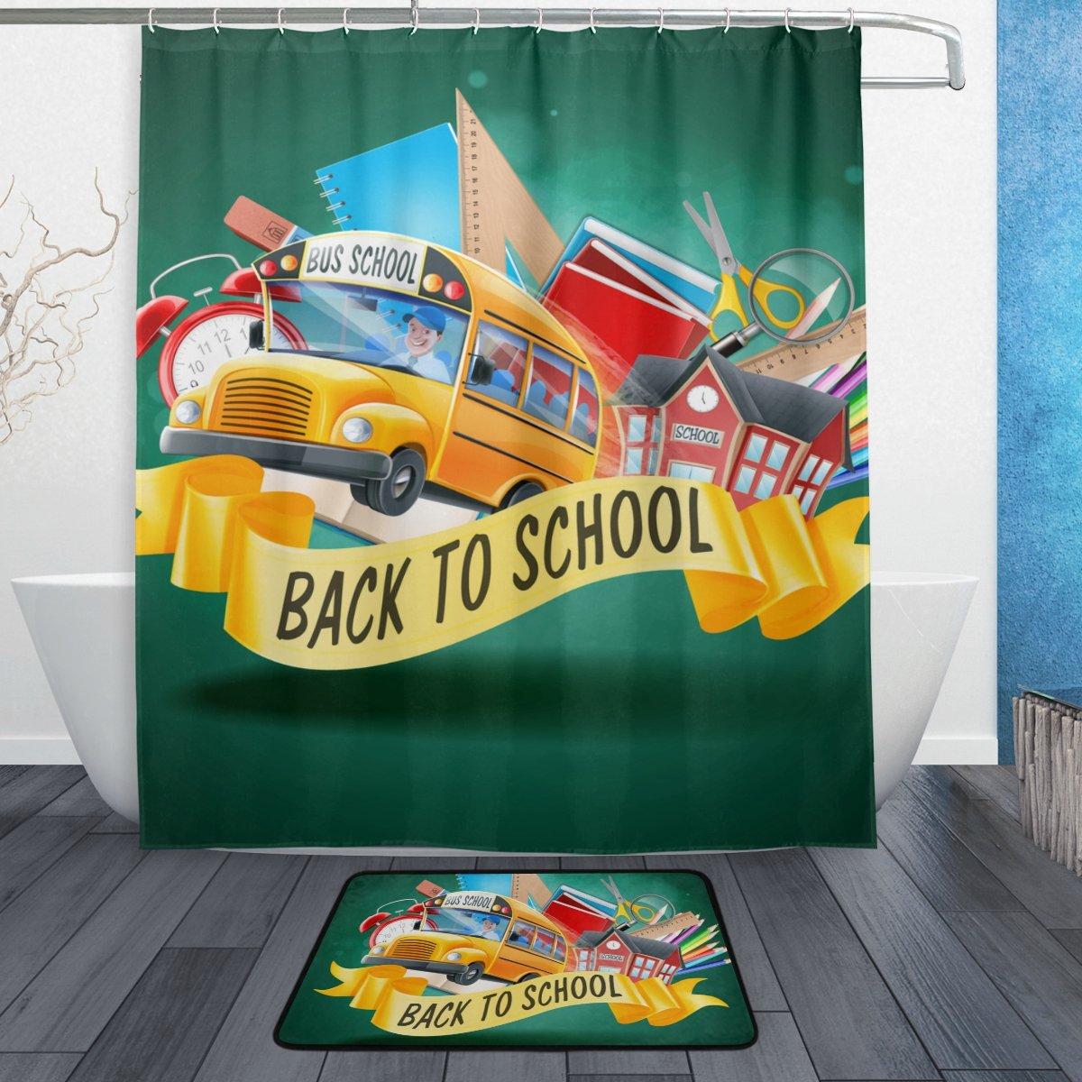 U LIFE Welcome Hello Back To School Season Bus Shower Curtain Set and Bathroom Area Rugs Mats 60 x 72 inch