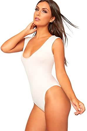 f20db0c16c79 WearAll Women's Sleeveless Scoop Neck Bodysuit New Ladies Basic Plain  Leotard Top - Nude - 10