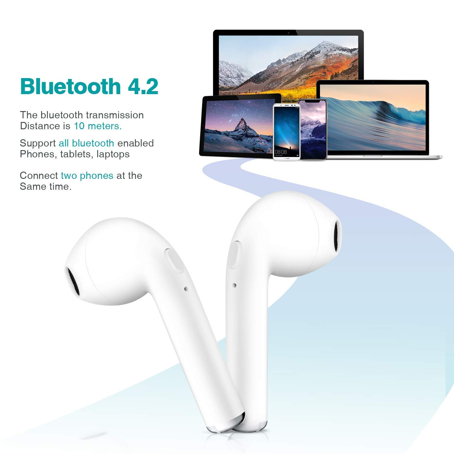 Bluetooth Headphones Wireless Earbuds Mini Earphones Bluetooth 5.0 in-Ear Stereo Sound Noise Cancelling 2 Built-in Mic Earphones Charging Case Compatible All Bluetooth Devices