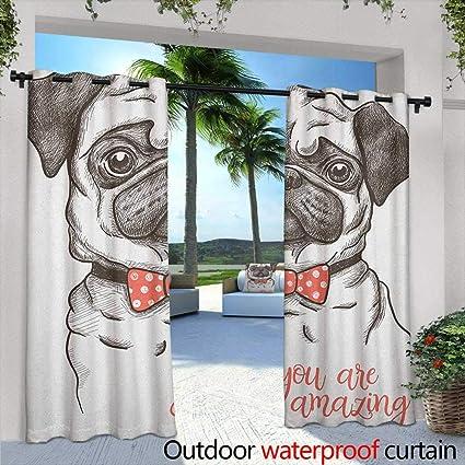 Amazon.com: Marilds Pug - Cortina de ojales con imagen de un ...
