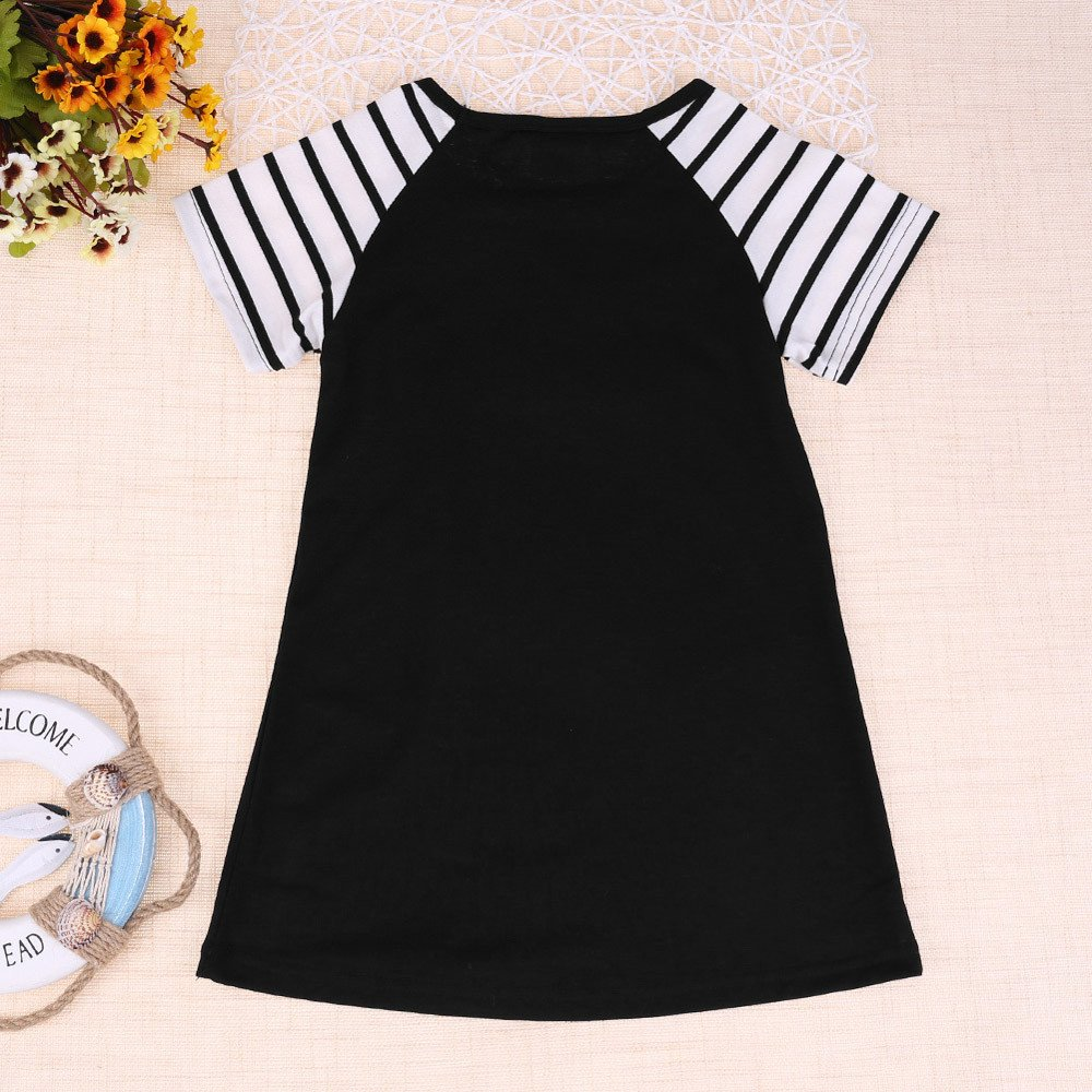 Yamally Girls Cotton Short Sleeves Casual Cartoon Summer Butterfly Printed Dresses Summer by Yamally_9R_Baby Skirts (Image #3)