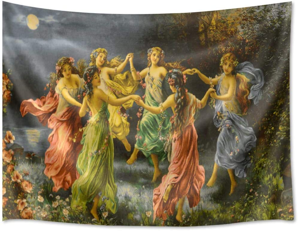 Amazon Com Hvest European Fairy Tapestry Greek Goddess Wall Decor Royal Court Six Skirt Girls Dancing Wall Painting Renaissance Romanticism Backdrop For Room Home Decor Photography Background 60wx40h Inches Home Kitchen