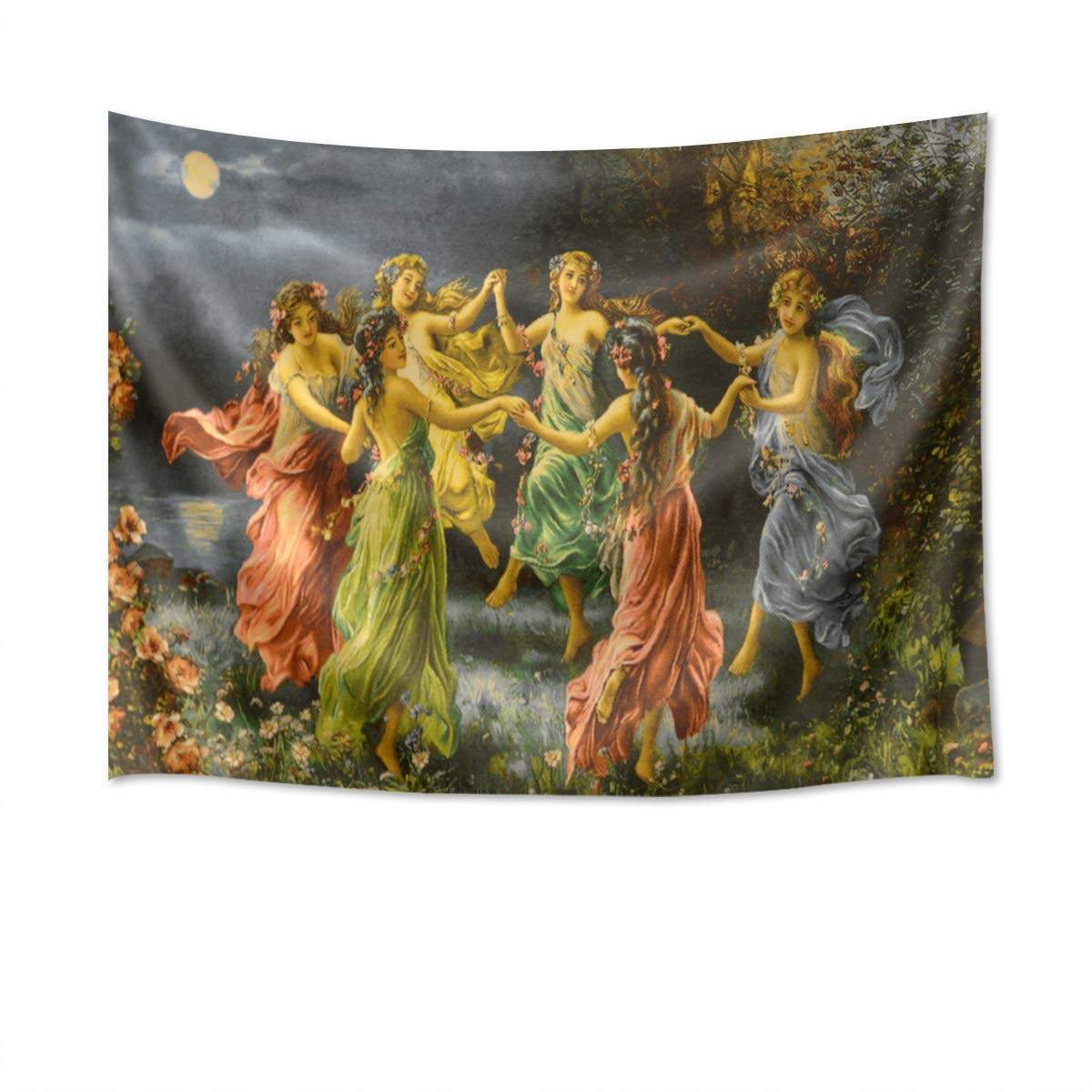 HVEST European Fairy Tapestry Greek Goddess Wall Decor Royal Court Six Skirt Girls Dancing Wall Painting Renaissance Romanticism Backdrop for Room Home Decor Photography Background 60Wx40H inches