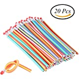 CCINEE 20 Pieces Soft Magic Bendy Pencils Childrens School Stationary Equipment for Party