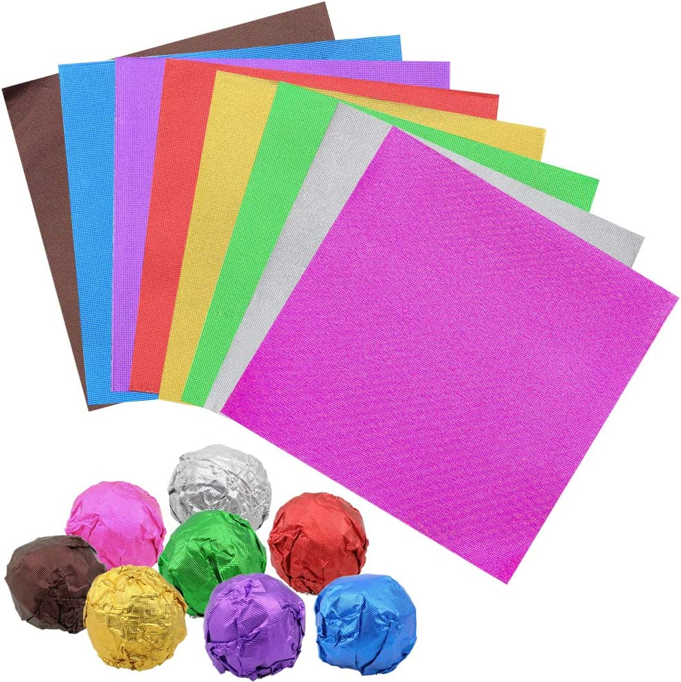 "Dreamtop 800 Pieces Chocolate Candy Wrappers Square Christmas Aluminium Foil Wrappers Packaging Colored Foil Sheets for DIY Homemade Chocolate Candy Party Favors Decoration,8 Colors(3.15x3.15"")"