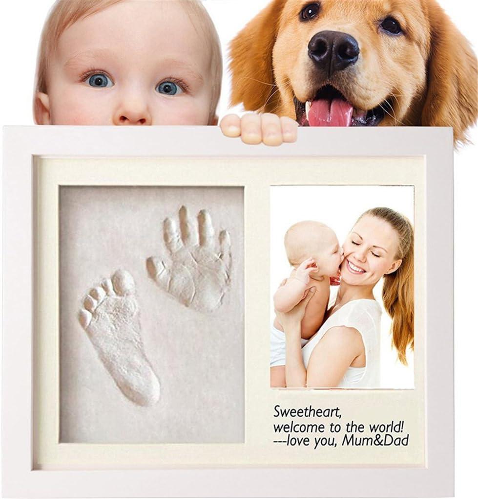 CFtrum Kit de Marco de Huellas de Mano y Pie de Bebé, Regalos Originales para el Recién Nacido y Fiesta de Bienvenida al Bebé, decoraciones de pared o mesa con recuerdos memorables