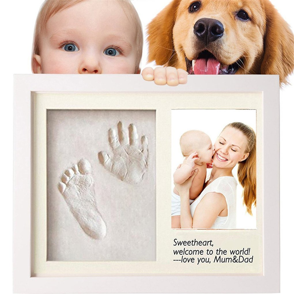 Ideal Newborn Gift - Baby Handprint & Footprint Kit Art Memorial Photo Frame - Memorable Keepsake for Newborn - Ideal Decorations for Room Wall - Toddlers Shower Christening Presents Set Gracelaza