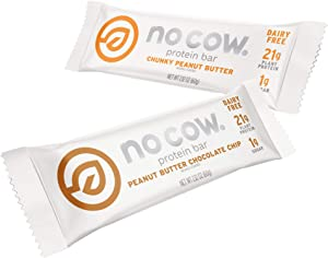 No Cow Protein Bars, Peanut Butter Lovers Pack, 20g Plant Based Vegan Protein, Keto Friendly, Low Sugar, Low Carb, Low Calorie, Gluten Free, Naturally Sweetened, Dairy Free, Non GMO, Kosher, 12 Pack