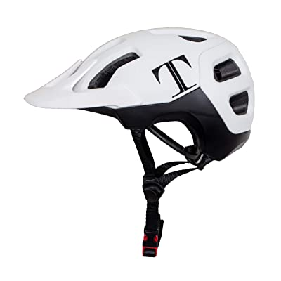 Tommaso Enduro MTB and Road Cycling Helmet Removable Visor, Adjustable Fit, 4 Colors Matte Black, White, Titanium, Yellow, Fully Certified Safety Protection - White: Automotive