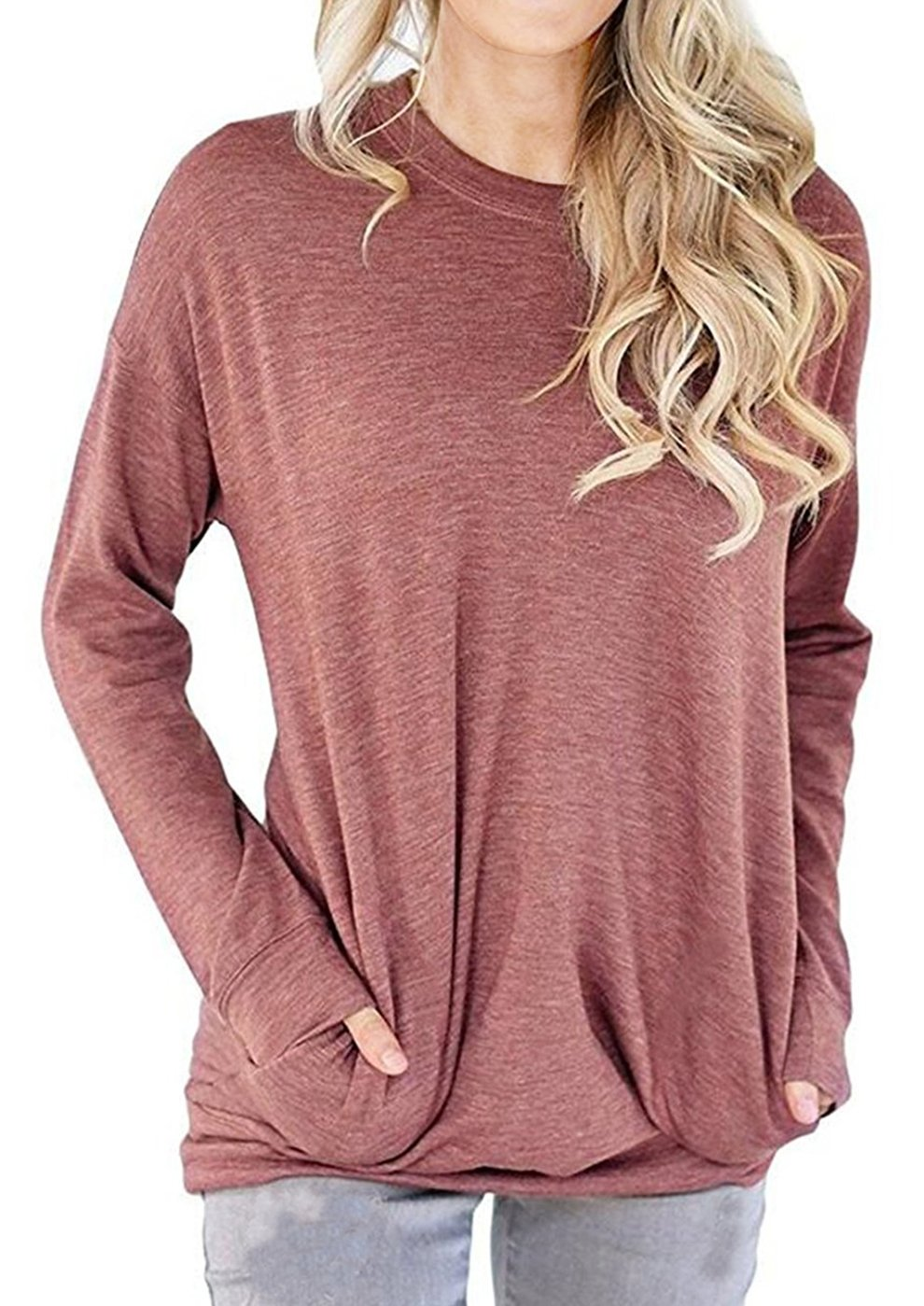 GSVIBK Women Casual Round Neck Sweatshirts Long Sleeve Pullover Shirts Tops Soft Sweatshirts Blouse Pocket Light Red 3XL