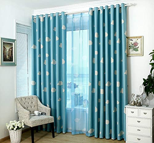 Blue and White Cloud Blackout Curtain Grommet Top Thermal Insulated Room Darkening Engery Saving Drape Noise Reducing No Formaldehyde - a good cheap window curtain panel
