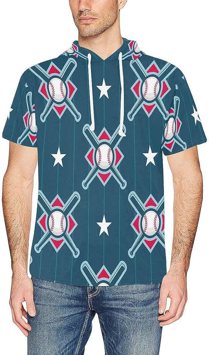 INTERESTPRINT Mens Hoodies Pullover Baseball Pattern Drawstring Short Sleeve Hooded T-Shirt XS-2XL