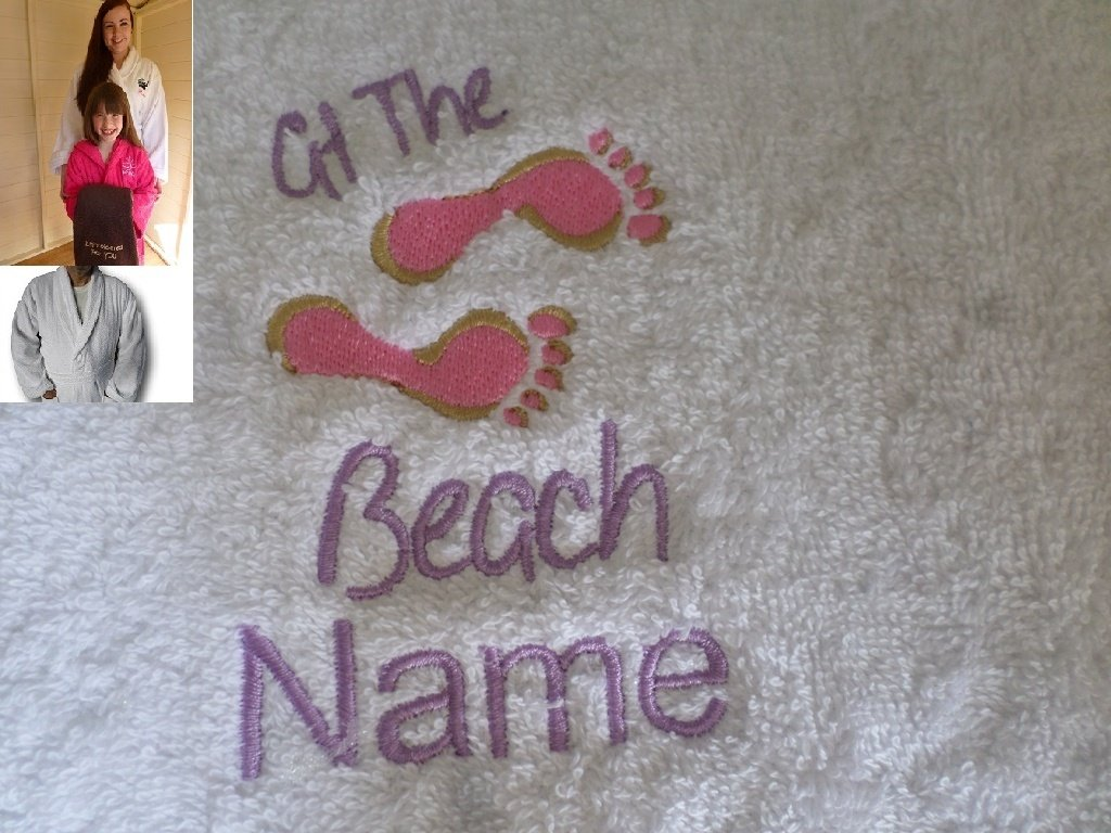 Adult Bath Robe with a AT THE BEACH Logo and Name of your choice in White, Size Medium, Large, XLarge or XXLarge (Medium)