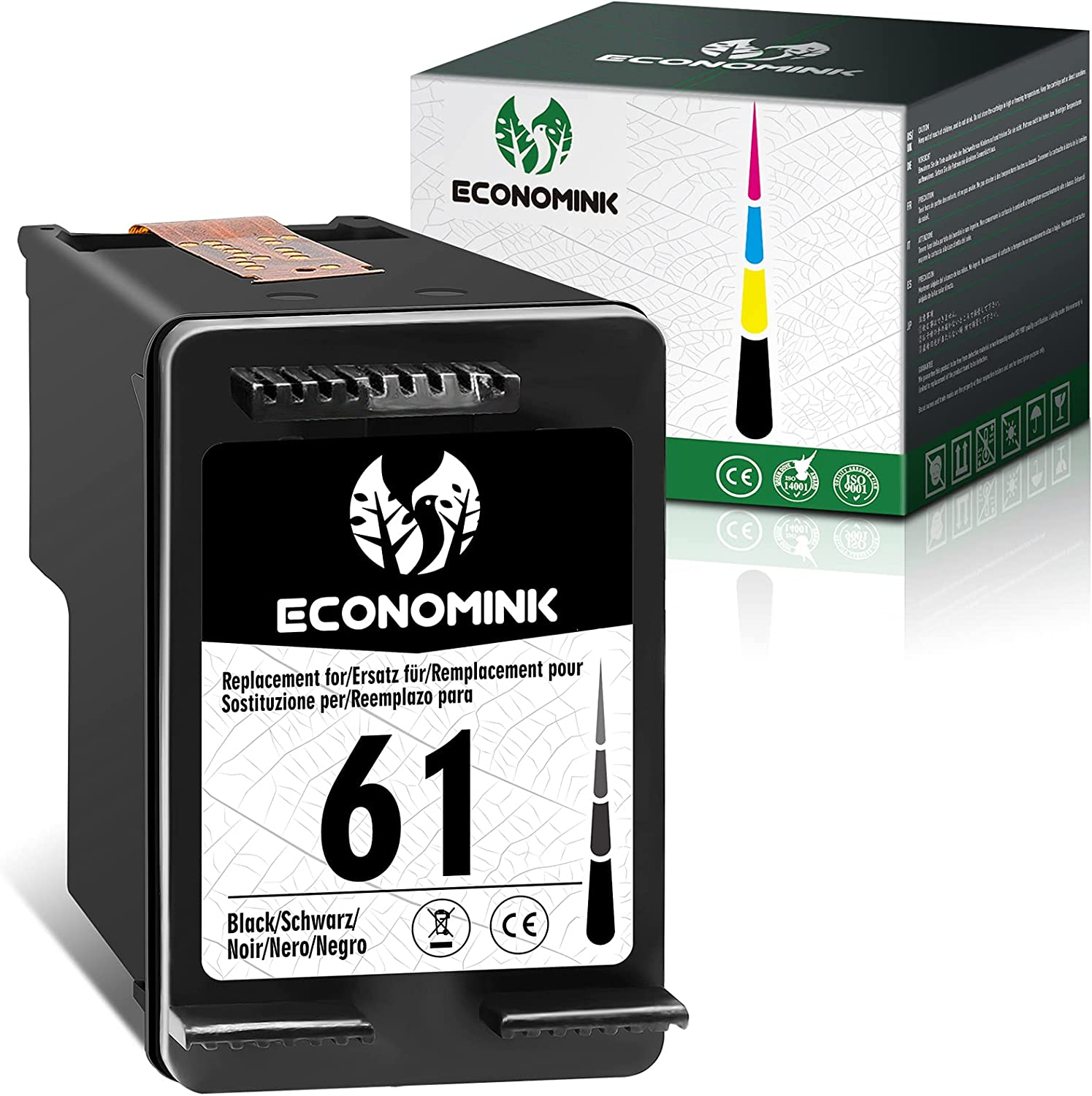 Economink Remanufactured Ink Cartridges Replacement for HP 61 Black HP61 to use with Envy 4500 4502 5530 DeskJet 2512 1512 2542 2540 2544 3000 3052a 1055 3051a 2548 OfficeJet 4630 Printer(1 Pack)