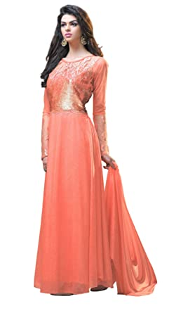d5d065336282 Kimisha Dark Peach Chiffon Lycra Semi stitched Embroidered Floor Length Party  Wear Gown Dress Material available