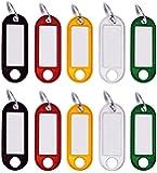 M&H-24 - Llaveros para rotular, Etiqueta para Escribir con Anillo, Etiquetas Intercambiables en Negro, Rojo, Amarillo…