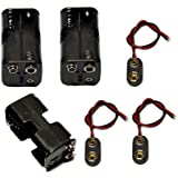LAMPVPATH 3 Pcs 4 x 1.5V (6V) AA Battery Holder Leads with 3 Pcs 9V I Type Snap Connector Plastic Housing Two Layers…
